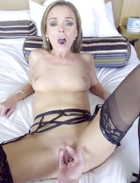 Juicy babe Pristine Edge strips out of her lingerie and gives her mans hardon a stiffie ride hell never forget