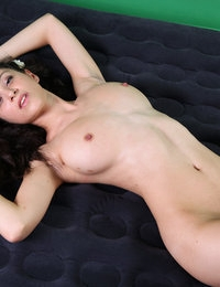 Graceful busty Jasmin opens her long legs to boast of her pussy