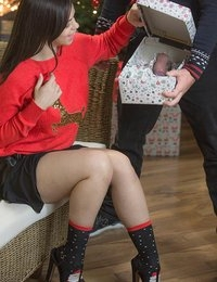 Nekane's boyfriend showed up for Christmas with a surprise that was for her eyes only! But sitting around the living room by the tree, Chad had to wait even longer for Nekane's step-mother Leanna Sweet to leave them alone, so he could give Nekane the special gift he'd been daydreaming about giving her for weeks: his dick in a box. While Leanna was away, Chad gifted Nekane his big hard cock to play with. It was just their lucky Leanna walked back in while Nekane was sitting on his face while giving Chad a blowjob. Seeing her step-daughter 69 didn't bother Leanna, it only got her in the mood to teach Nekane ho to deepthroat like a pro. Leanna inserted herself into the action, and got her share of Chad's cock in the naughty threesome that followed!