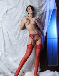 Alluring Cecelia in sexy red stockings strikes with her real elegance