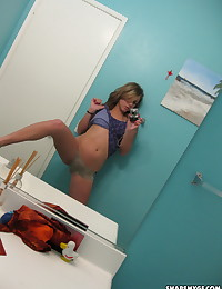 Sexy teen girlfriend takes selfshot mirror pictures of her perfect perky tits
