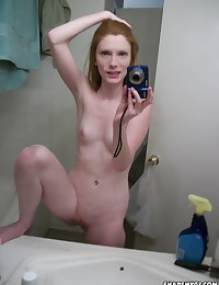 Skinny ginger girlfriend shows off as she takes naked selfies in the bathroom for her boyfriend