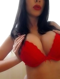 Katherine Knowles wearing red lingerie for Valentines Day