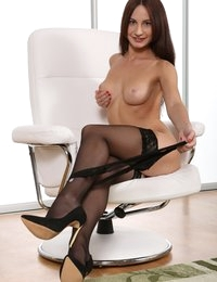 Brunette Lana Ray toys her pussy and ass
