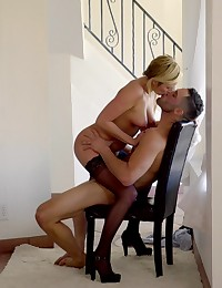 Horny hottie Kate England feels herself up while waiting on her man and aims all that lust at a bald pussy hardcore fuck