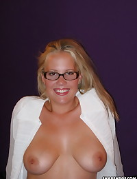 Blonde busty hot girlfriend shows off her big natural boobs as she poses for her boyfriend while on vacation