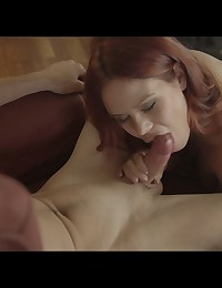 Fiery redhead Gala Brown accepts a bald pussy fingering massage then takes her man in a variety of hardcore positions