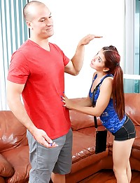 Sally Squirt is just about as petite as they come, with pig tails and braces. She's here to convince her Mr. Hung that she's tall enough to ride, and it turns out she is