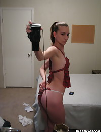 Skinny girlfriend dresses up as a slutty school girl while taking selfshot pictures for her boyfriend