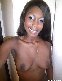 Black horny girlfriend takes selfshot pictures of her tight round ass and perfect pussy for her boyfriend