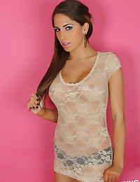 Big breasted Alluring Vixen babe Amber J teases with her big perfect boobs in a skimpy semi sheer lace top