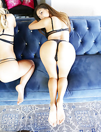 When new Colette Girls Nina North and Zoey Taylor were invited to hang out in their lingerie with popular Veronica Rodriquez, it wasn't long before the caressing began and the bra and panties came off. Everyone knows that girls compare the size of guys' cocks. Did you wonderful male subscribers realize that we girls also compare our pussies? Of course we do. Nina, Zoey and Veronica get up close and personal as they spread their legs, open their gorgeous lips, and glory in the beautiful perfection of their young, pink womanhood. This is a total turn-on, of course, and pussy licking and finger fucking quickly follow while we watch. Nina and Zoey are so appreciative of the invitation that they team up with a large dildo and fuck Veronica until she cums hard one more time. Orgasms for everyone! XOXO, Colette
