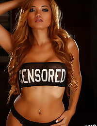 Perfect Alluring Vixen babe Jannie loves to tease in her skimpy semi sheer tube top