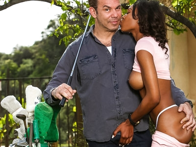 Nadia Jay gets a kinky golf lesson from her step-daddy
