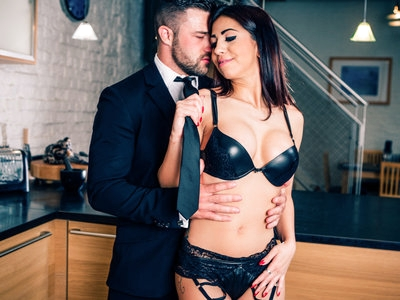 Naughty Julia surprises Max in sexy lingerie.