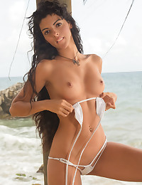 Nubiles.net Angela Diaz - Cock hungry newbie teases her soft shaved pussy by the beach
