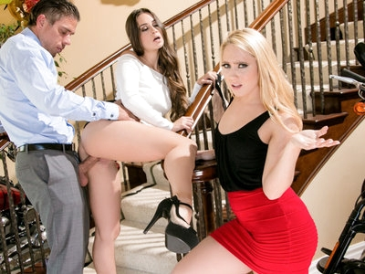 Sexy interns Aj Applegate and Cassidy fuck to get the job.