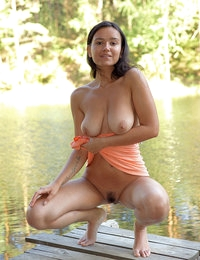 Juicy graceful Sanita likes to show off her breathtaking big bubbles