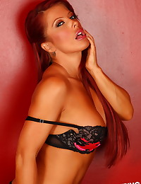 Sexy Alluring Vixen babe Shanna shows off her tight body in a skimpy matching bra and panties