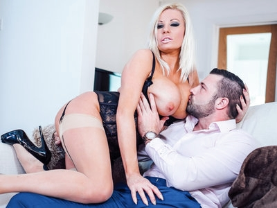 Blonde MILF Michelle Thorne bounces on Max Deeds's dick.