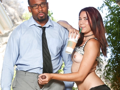 Jordan Dalhart fucks her black step daddy's big fat cock.