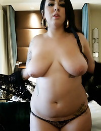 Busty chubby girlfriend strips out of her sexy black lingerie for her boyfriend