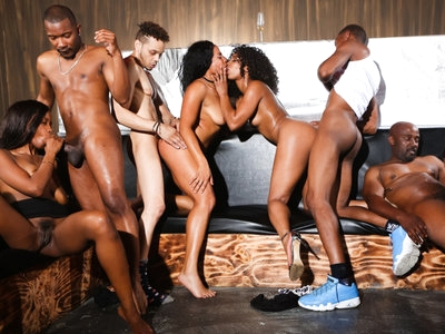 Wild orgy between black stallions and gorgeous ebony whores
